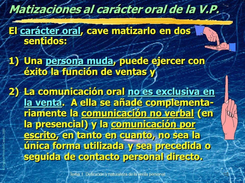 © Enrique Pérez del Campo, 2000 Tema 1: Definición y naturaleza de la venta personal 9 Venta personal... «Promotion» *Como medio de comunicación. yEl