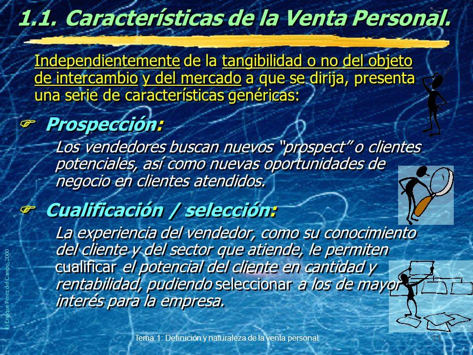 © Enrique Pérez del Campo, 2000 Tema 1: Definición y naturaleza de la venta personal 10 Matizaciones al carácter oral de la V.P. El carácter oral, cav