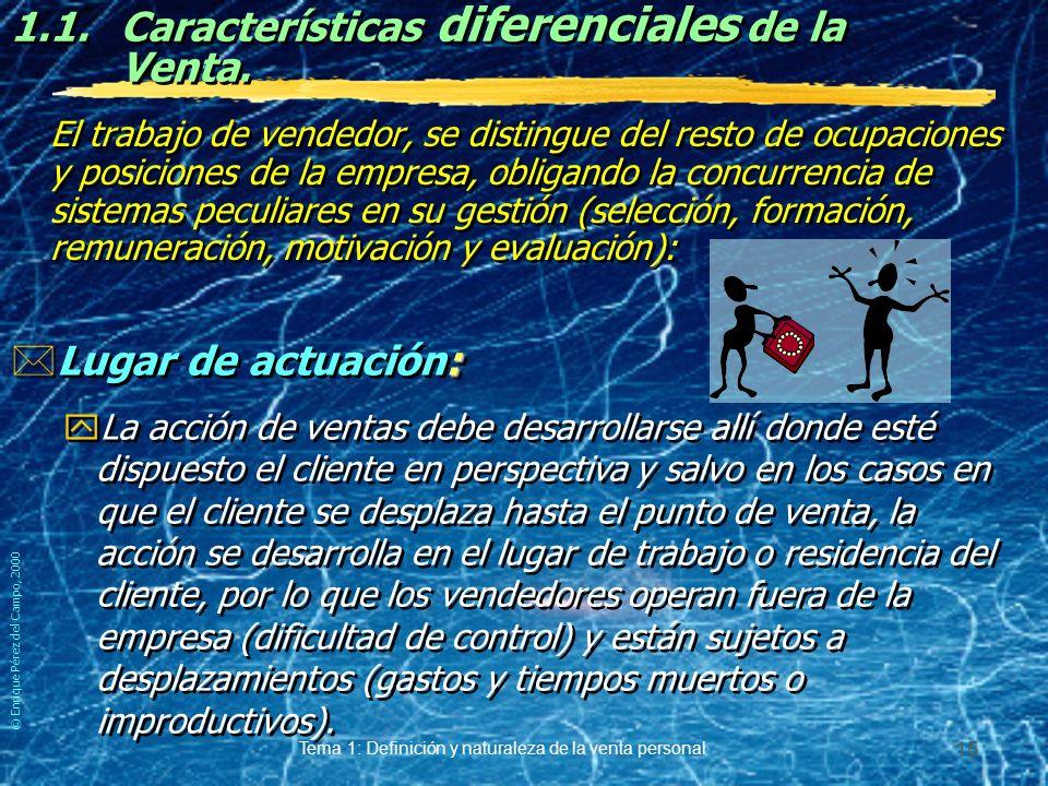 © Enrique Pérez del Campo, 2000 Tema 1: Definición y naturaleza de la venta personal 14 1.1.Características de la Venta Personal.