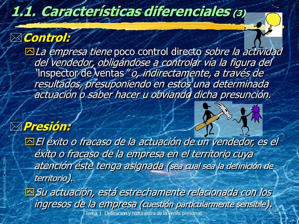© Enrique Pérez del Campo, 2000 Tema 1: Definición y naturaleza de la venta personal 16 Que pesado! 1.1.Características diferenciales (2) *Jornada lab
