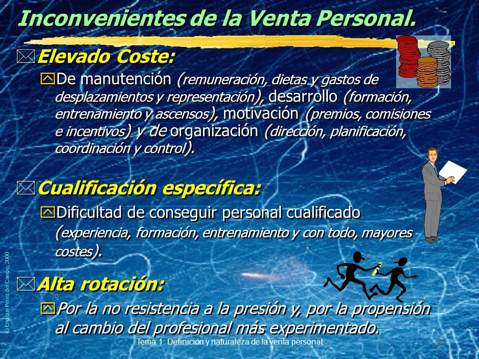 © Enrique Pérez del Campo, 2000 Tema 1: Definición y naturaleza de la venta personal 20 Ventajas de la Venta Personal. *Incrementa las ventas: yPor la