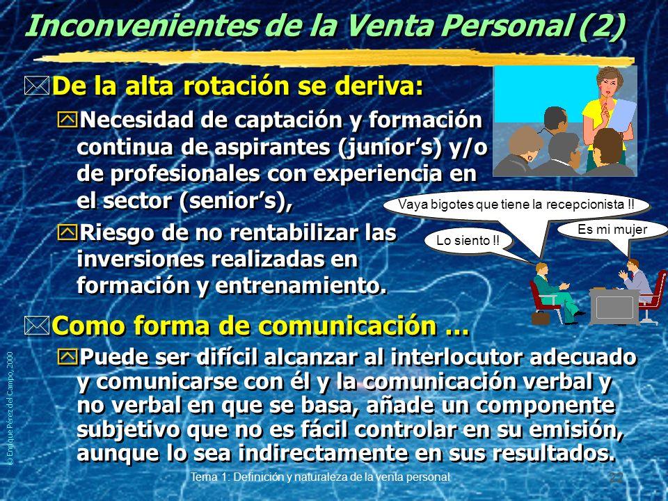© Enrique Pérez del Campo, 2000 Tema 1: Definición y naturaleza de la venta personal 21 Inconvenientes de la Venta Personal. *Elevado Coste: yDe manut