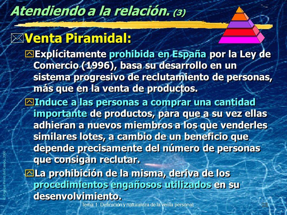 © Enrique Pérez del Campo, 2000 Tema 1: Definición y naturaleza de la venta personal 27 Atendiendo a la relación. (2) *Venta Indirecta: yLa que se hac
