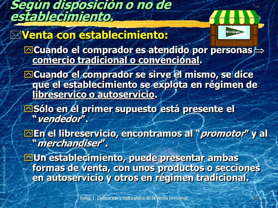 © Enrique Pérez del Campo, 2000 Tema 1: Definición y naturaleza de la venta personal 28 Atendiendo a la relación.