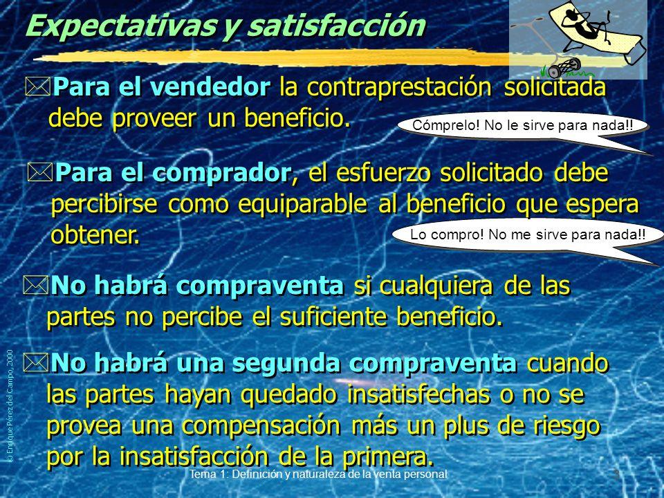 © Enrique Pérez del Campo, 2000 Tema 1: Definición y naturaleza de la venta personal 2 La venta *Búsqueda y consecución de aceptación al ofrecimiento de traspaso de propiedad de un bien y/o de los derechos de uso y disfrute del mismo o de un servicio, a cambio de una contraprestación, normalmente dineraria.