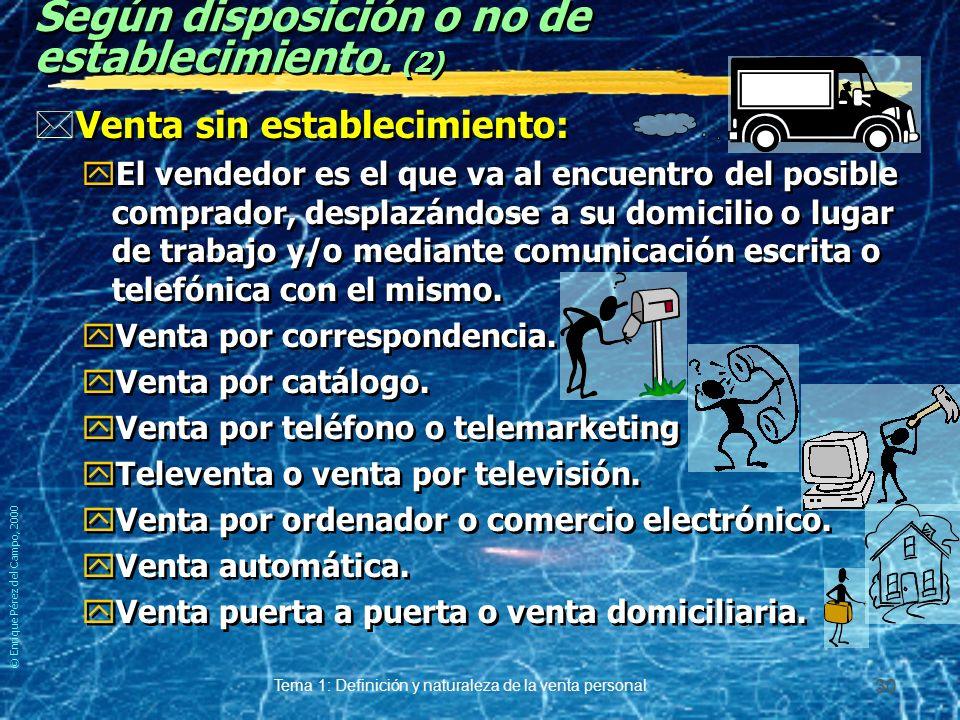 © Enrique Pérez del Campo, 2000 Tema 1: Definición y naturaleza de la venta personal 29 Según disposición o no de establecimiento. *Venta con establec