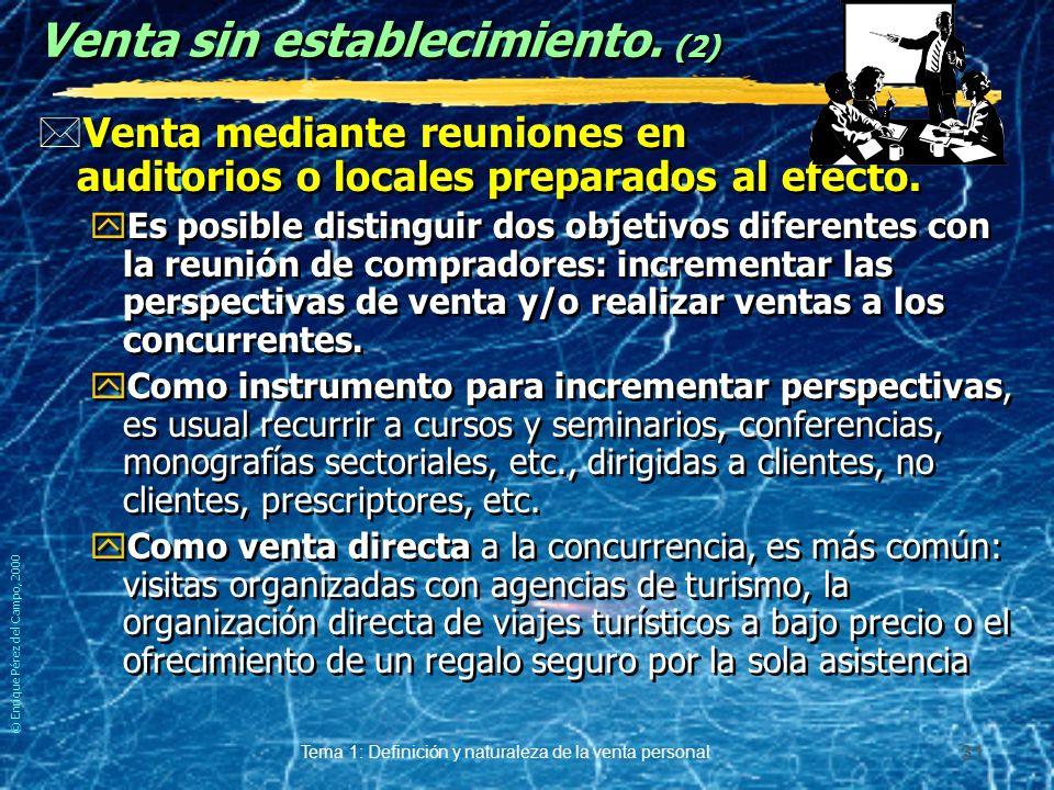 © Enrique Pérez del Campo, 2000 Tema 1: Definición y naturaleza de la venta personal 30 Según disposición o no de establecimiento. (2) *Venta sin esta