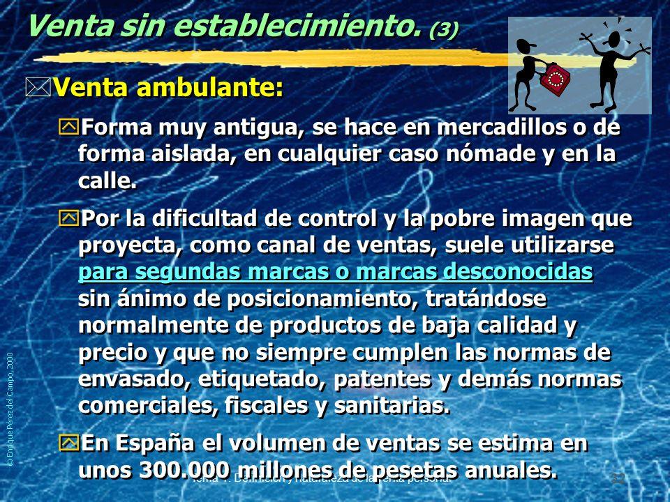 © Enrique Pérez del Campo, 2000 Tema 1: Definición y naturaleza de la venta personal 31 Venta sin establecimiento.