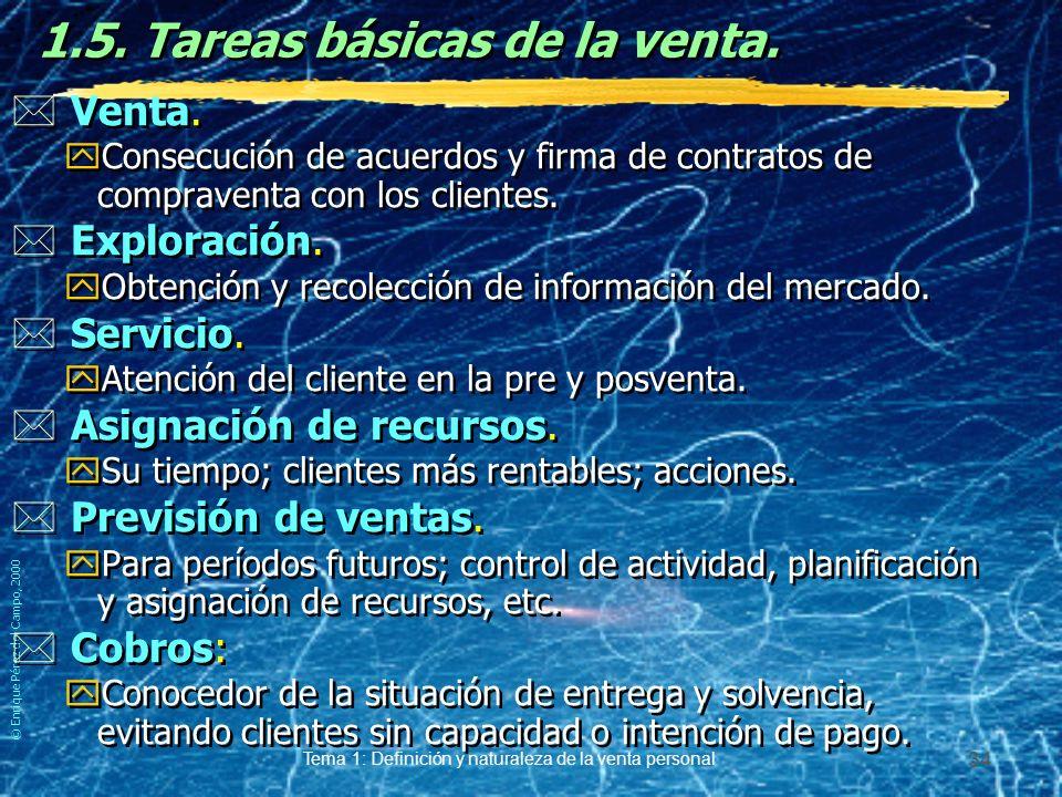 © Enrique Pérez del Campo, 2000 Tema 1: Definición y naturaleza de la venta personal 33 1.5. Tareas básicas de la venta. EnfoqueTradicional EnfoqueAct
