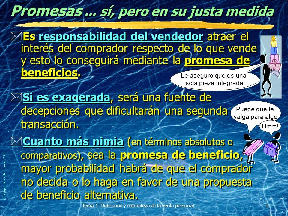 © Enrique Pérez del Campo, 2000 Tema 1: Definición y naturaleza de la venta personal 3 Expectativas y satisfacción *Para el vendedor la contraprestación solicitada debe proveer un beneficio.