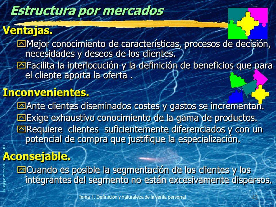 © Enrique Pérez del Campo, 2000 Tema 1: Definición y naturaleza de la venta personal 41 Ejemplo de estructura por productos