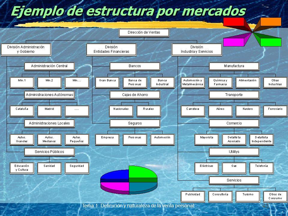 © Enrique Pérez del Campo, 2000 Tema 1: Definición y naturaleza de la venta personal 42 Estructura por mercados Ventajas. yMejor conocimiento de carac
