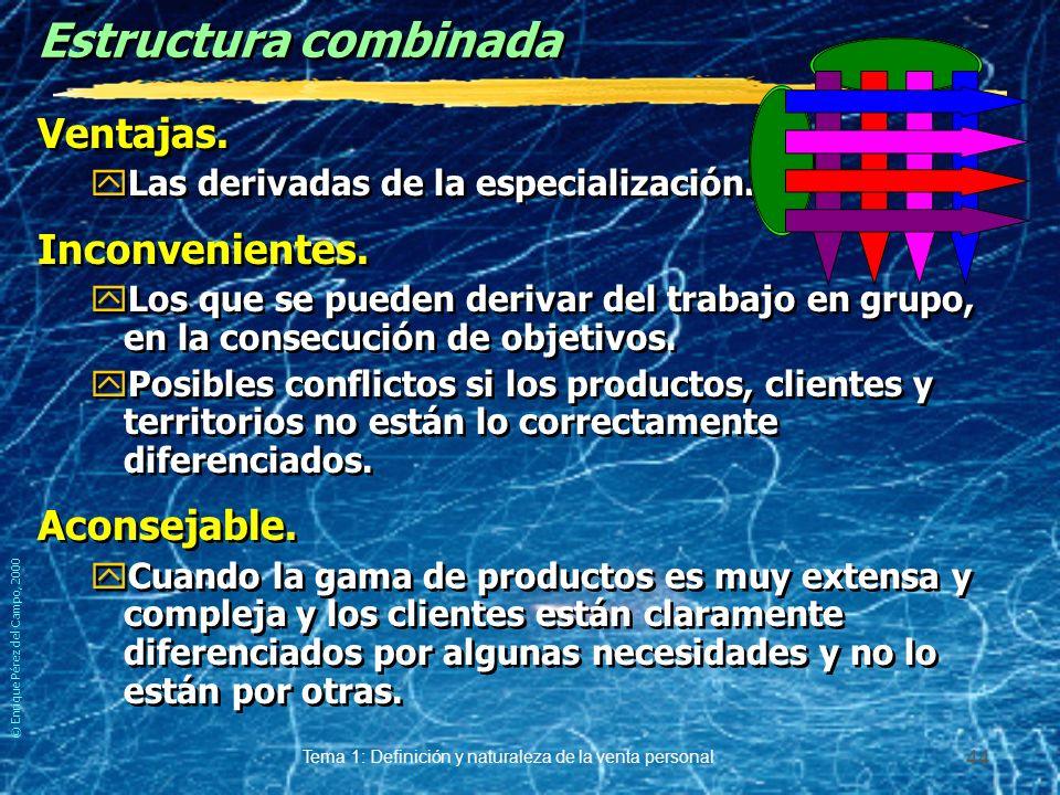 © Enrique Pérez del Campo, 2000 Tema 1: Definición y naturaleza de la venta personal 43 Ejemplo de estructura por mercados