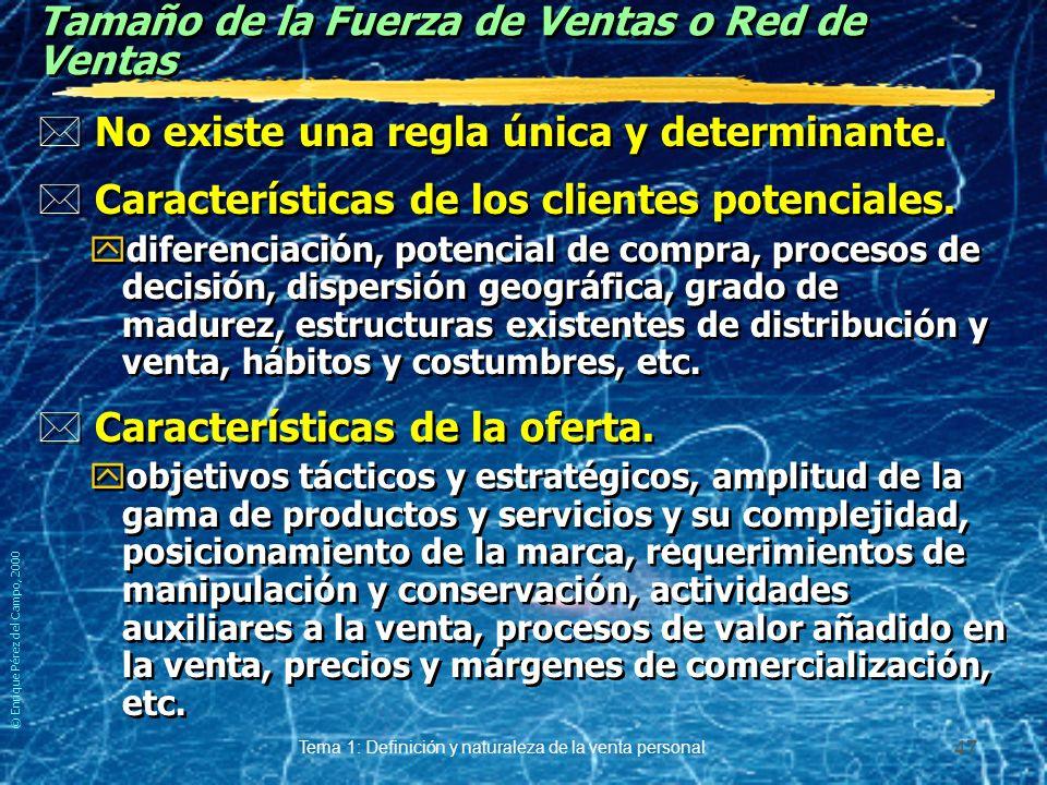 © Enrique Pérez del Campo, 2000 Tema 1: Definición y naturaleza de la venta personal 46 Ejemplo de estructura enfocada al cliente CFT´s = Costumer Foc