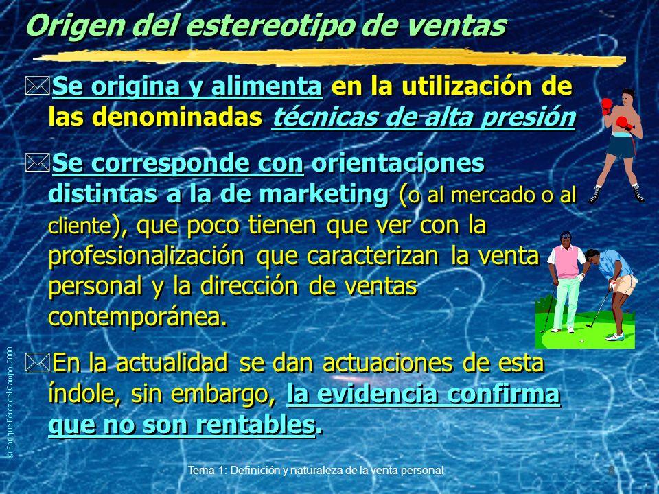 © Enrique Pérez del Campo, 2000 Tema 1: Definición y naturaleza de la venta personal 5 Estereotipo de la venta...