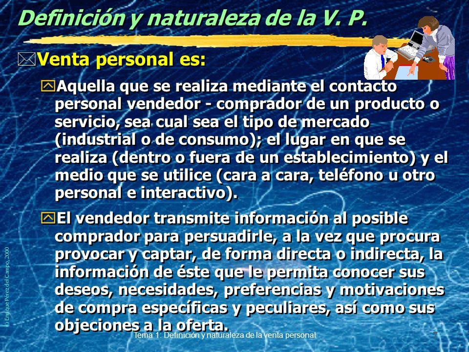 © Enrique Pérez del Campo, 2000 Tema 1: Definición y naturaleza de la venta personal 6 Origen del estereotipo de ventas *Se origina y alimenta en la u
