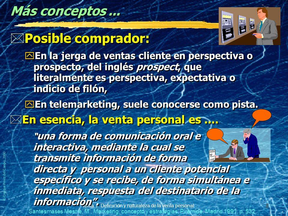 © Enrique Pérez del Campo, 2000 Tema 1: Definición y naturaleza de la venta personal 7 Definición y naturaleza de la V. P. *Venta personal es: yAquell