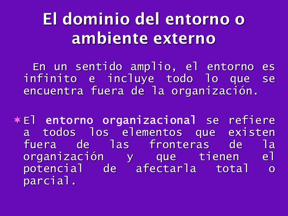 El dominio del entorno o ambiente externo En un sentido amplio, el entorno es infinito e incluye todo lo que se encuentra fuera de la organización. En