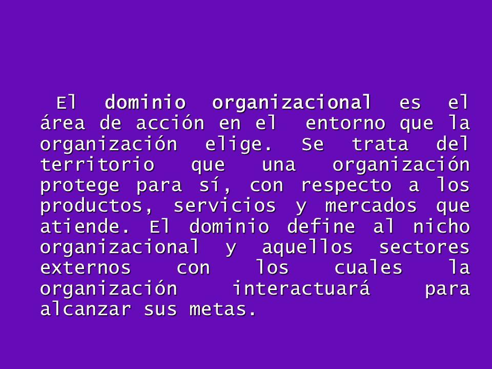 El dominio organizacional es el área de acción en el entorno que la organización elige. Se trata del territorio que una organización protege para sí,