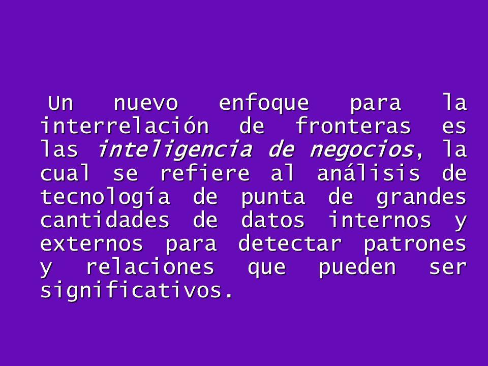 Un nuevo enfoque para la interrelación de fronteras es las inteligencia de negocios, la cual se refiere al análisis de tecnología de punta de grandes