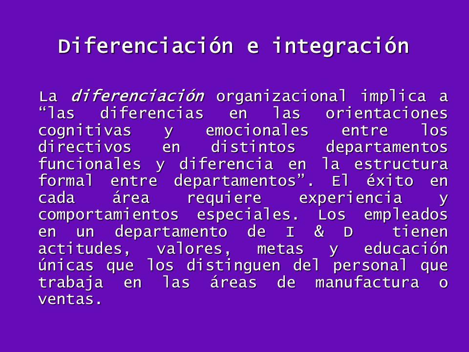 Diferenciación e integración La diferenciación organizacional implica a las diferencias en las orientaciones cognitivas y emocionales entre los direct