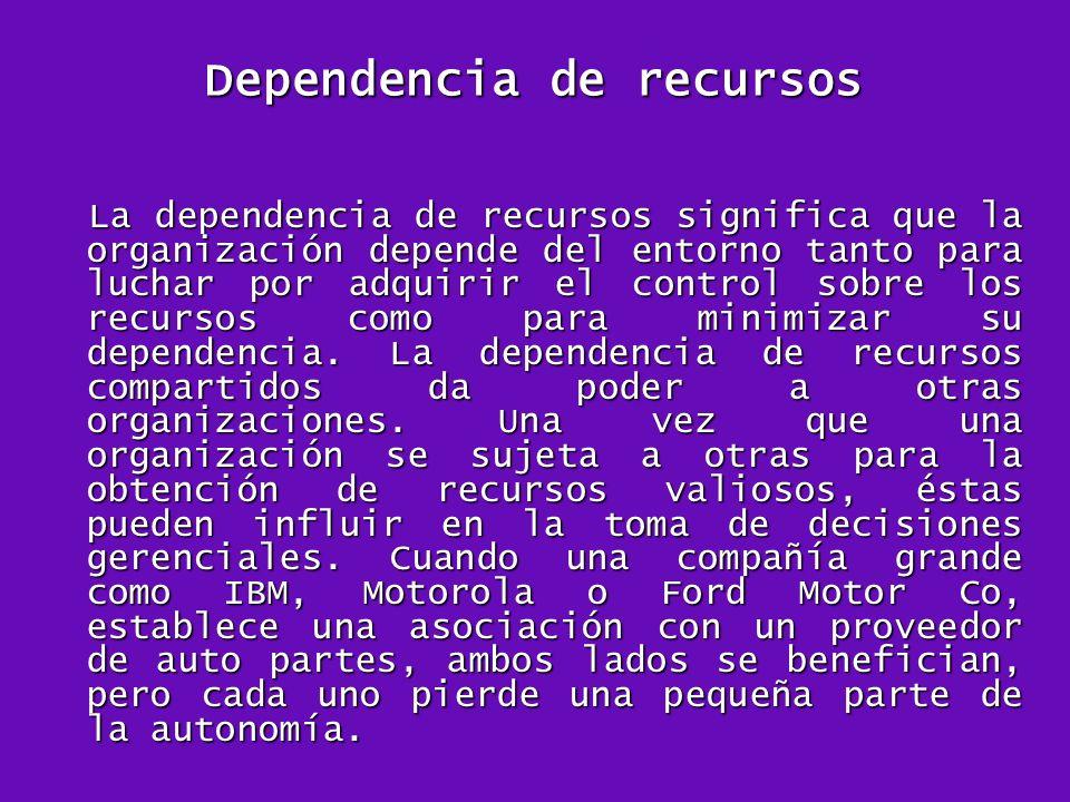 Dependencia de recursos La dependencia de recursos significa que la organización depende del entorno tanto para luchar por adquirir el control sobre l