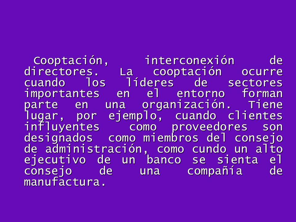 Cooptación, interconexión de directores. La cooptación ocurre cuando los líderes de sectores importantes en el entorno forman parte en una organizació