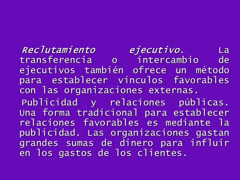 Reclutamiento ejecutivo. La transferencia o intercambio de ejecutivos también ofrece un método para establecer vínculos favorables con las organizacio