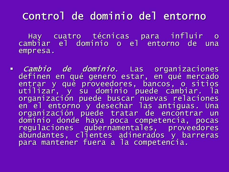 Control de dominio del entorno Hay cuatro técnicas para influir o cambiar el dominio o el entorno de una empresa. Hay cuatro técnicas para influir o c
