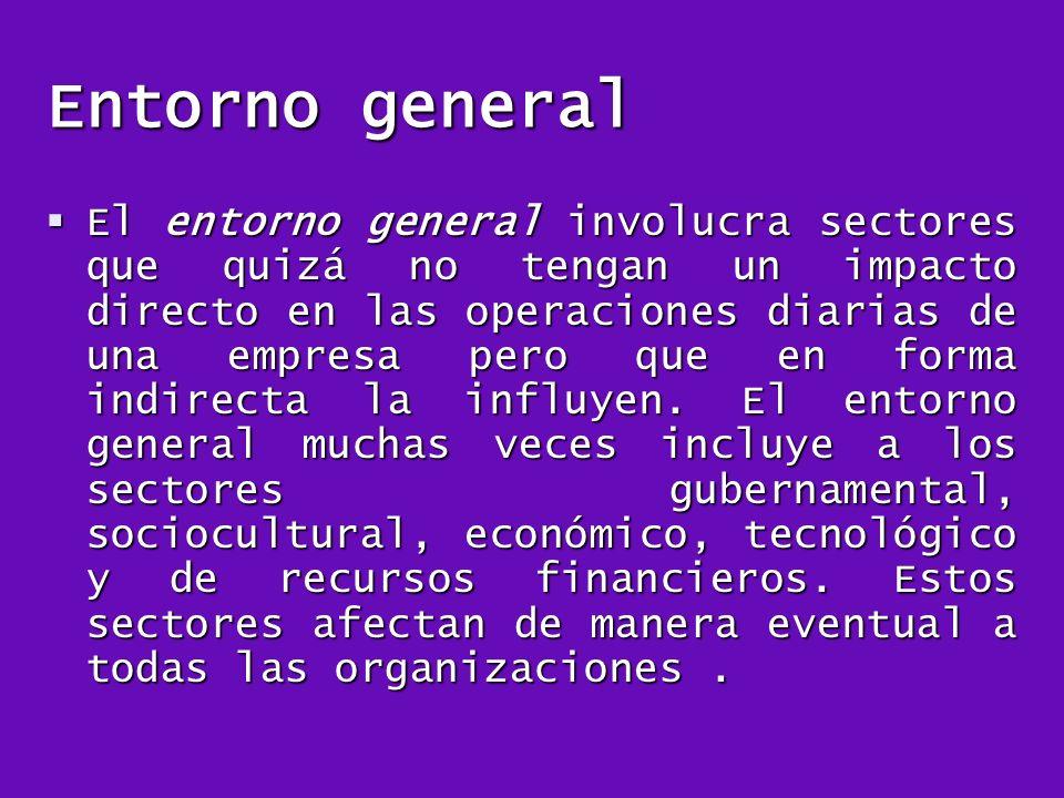 Entorno general El entorno general involucra sectores que quizá no tengan un impacto directo en las operaciones diarias de una empresa pero que en for