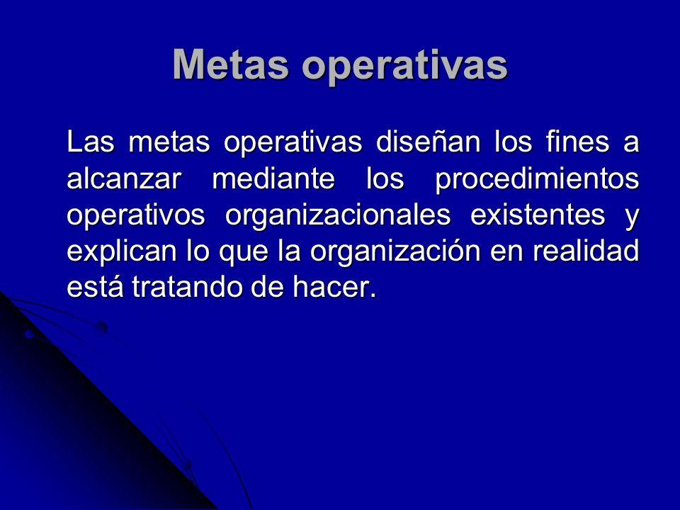 Metas operativas Las metas operativas diseñan los fines a alcanzar mediante los procedimientos operativos organizacionales existentes y explican lo qu