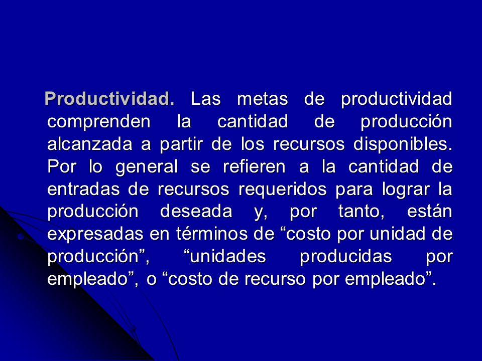 Productividad. Las metas de productividad comprenden la cantidad de producción alcanzada a partir de los recursos disponibles. Por lo general se refie