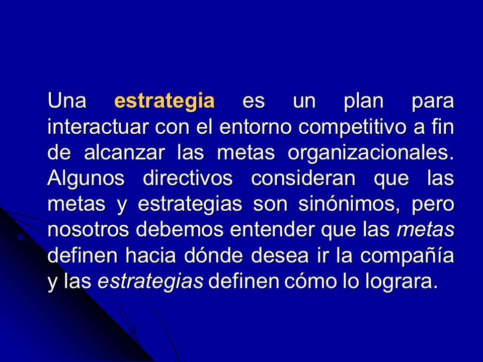 Una estrategia es un plan para interactuar con el entorno competitivo a fin de alcanzar las metas organizacionales. Algunos directivos consideran que