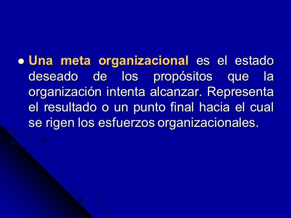 Una meta organizacional es el estado deseado de los propósitos que la organización intenta alcanzar. Representa el resultado o un punto final hacia el