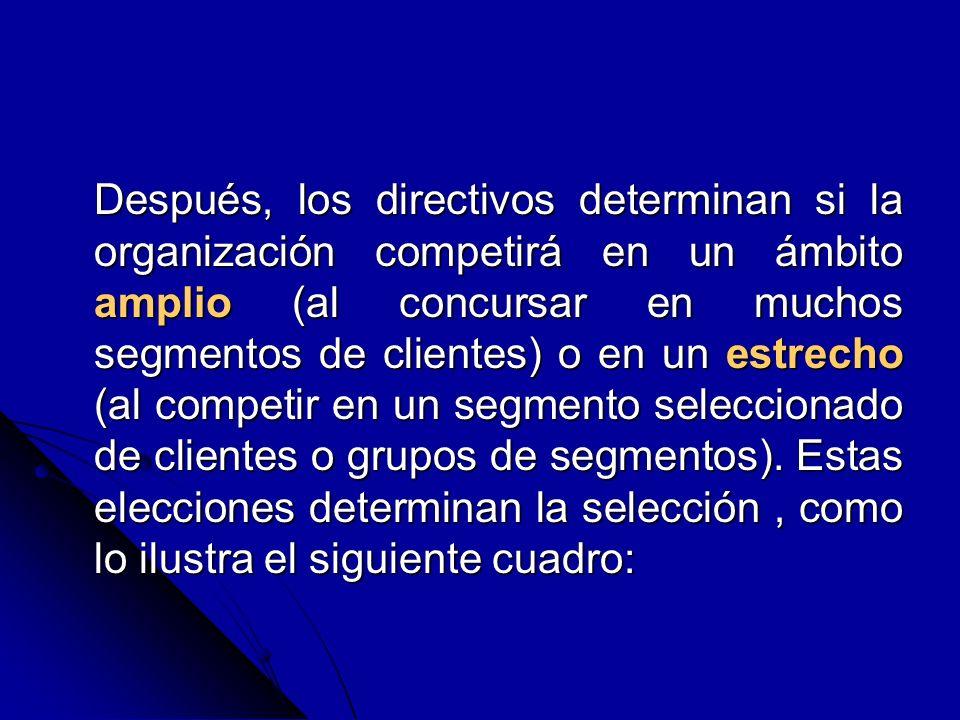 Después, los directivos determinan si la organización competirá en un ámbito amplio (al concursar en muchos segmentos de clientes) o en un estrecho (a