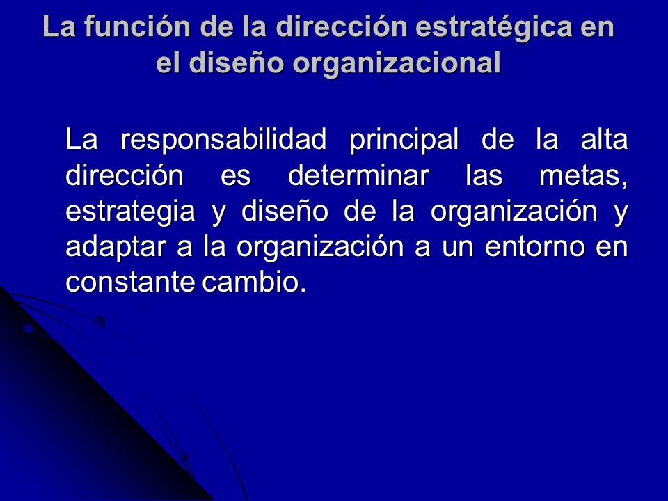 La función de la dirección estratégica en el diseño organizacional La responsabilidad principal de la alta dirección es determinar las metas, estrateg