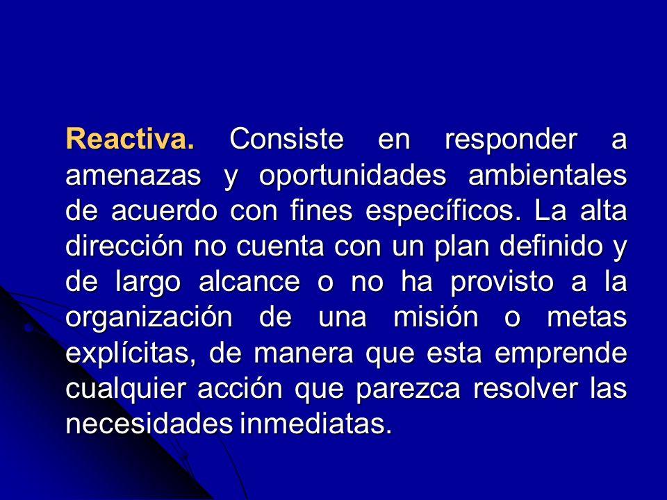 Reactiva. Consiste en responder a amenazas y oportunidades ambientales de acuerdo con fines específicos. La alta dirección no cuenta con un plan defin