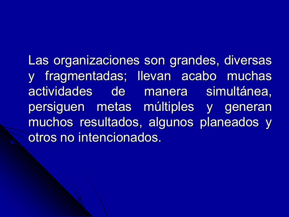 Las organizaciones son grandes, diversas y fragmentadas; llevan acabo muchas actividades de manera simultánea, persiguen metas múltiples y generan muc