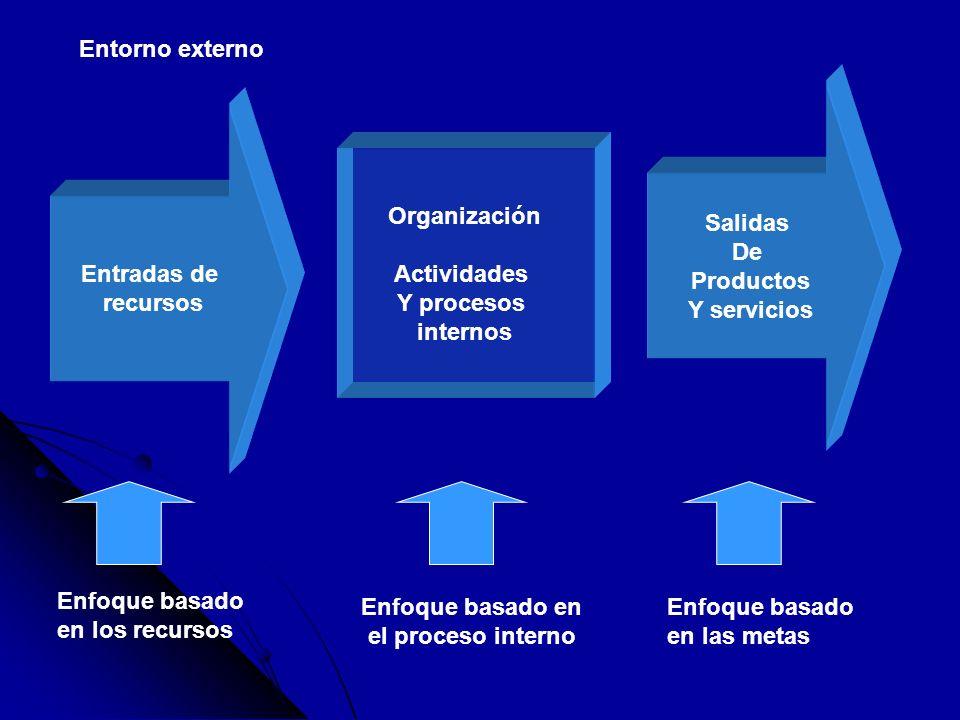 Entradas de recursos Organización Actividades Y procesos internos Salidas De Productos Y servicios Enfoque basado en los recursos Enfoque basado en el