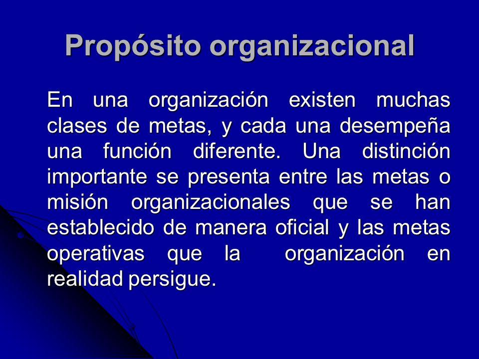Propósito organizacional En una organización existen muchas clases de metas, y cada una desempeña una función diferente. Una distinción importante se