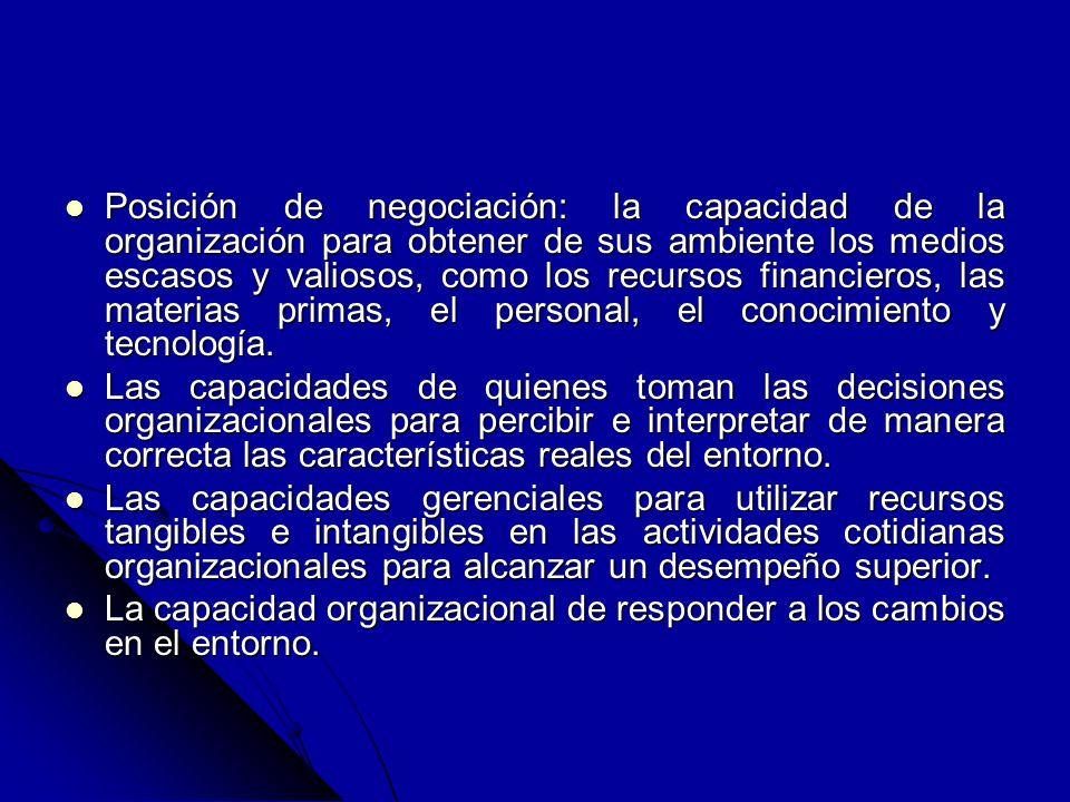 Posición de negociación: la capacidad de la organización para obtener de sus ambiente los medios escasos y valiosos, como los recursos financieros, la