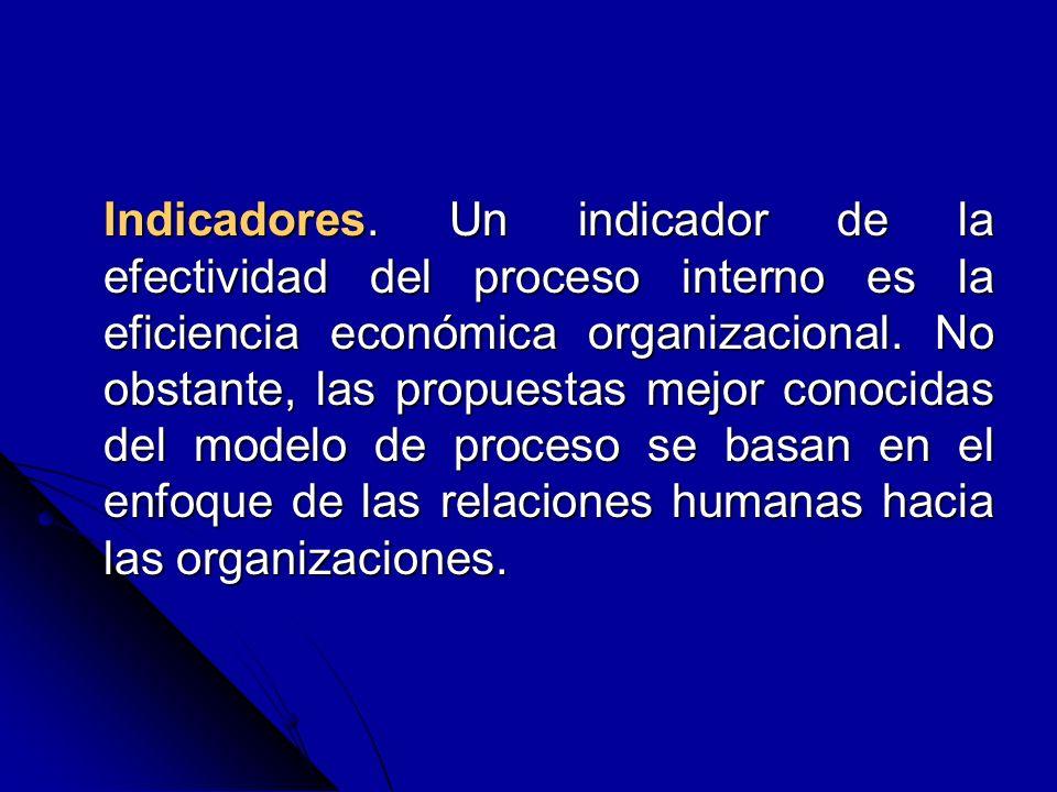 Indicadores. Un indicador de la efectividad del proceso interno es la eficiencia económica organizacional. No obstante, las propuestas mejor conocidas