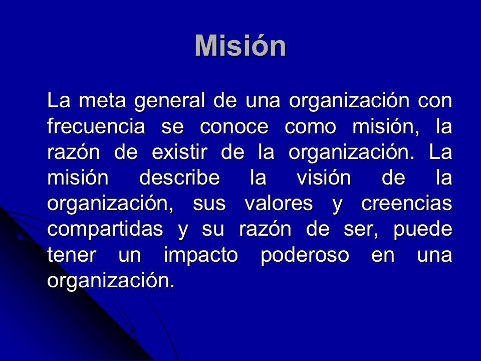 Misión La meta general de una organización con frecuencia se conoce como misión, la razón de existir de la organización. La misión describe la visión