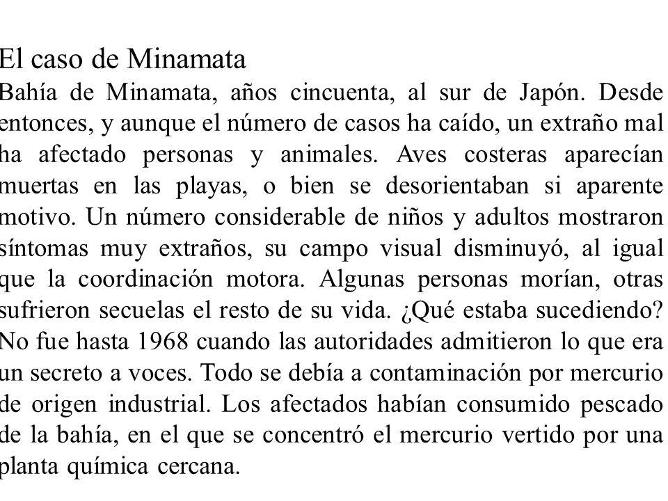 El caso de Minamata Bahía de Minamata, años cincuenta, al sur de Japón. Desde entonces, y aunque el número de casos ha caído, un extraño mal ha afecta