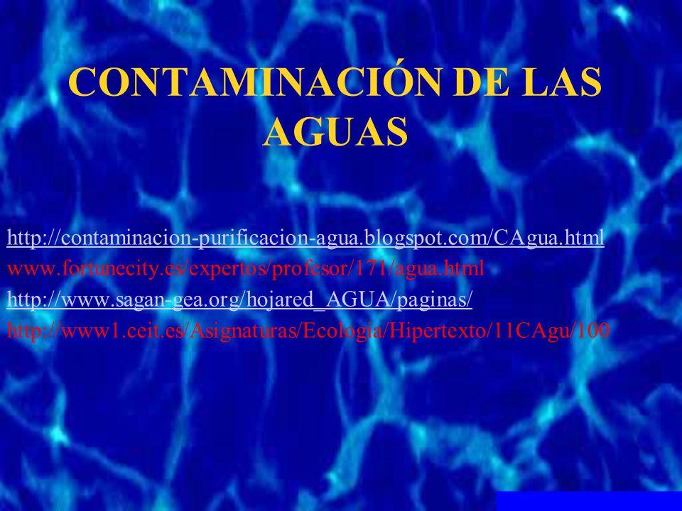 CONTAMINACIÓN DE LAS AGUAS http://contaminacion-purificacion-agua.blogspot.com/CAgua.html www.fortunecity.es/expertos/profesor/171/agua.html http://ww