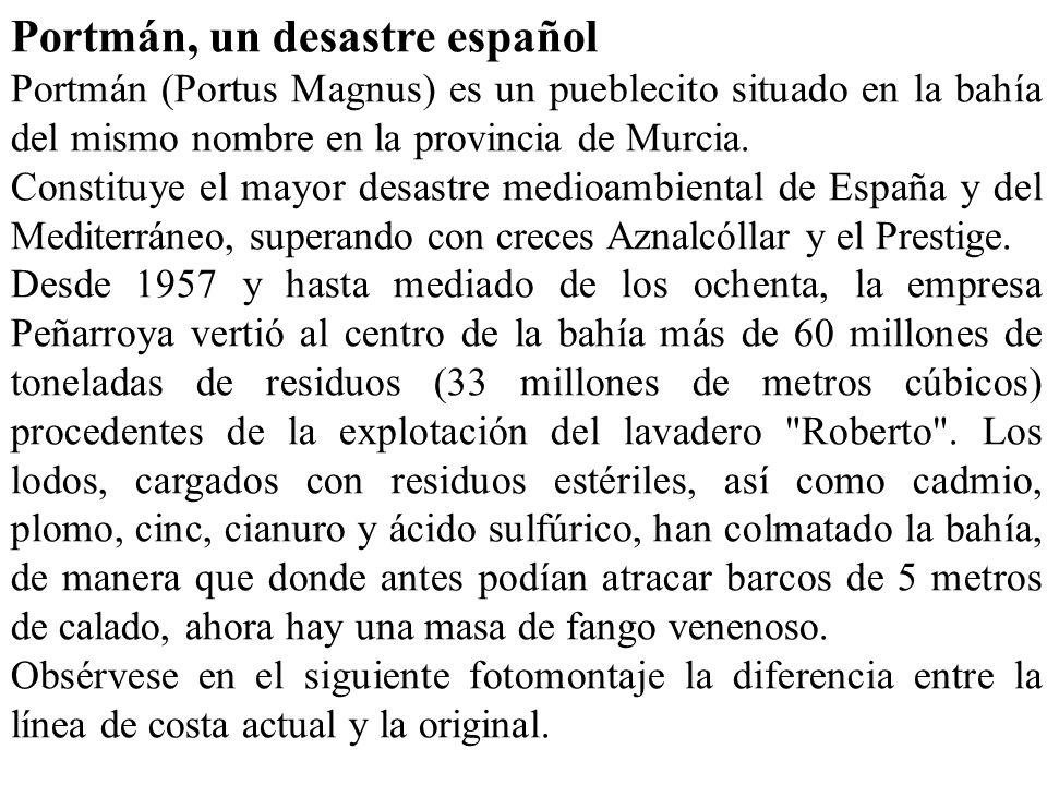 Portmán, un desastre español Portmán (Portus Magnus) es un pueblecito situado en la bahía del mismo nombre en la provincia de Murcia. Constituye el ma