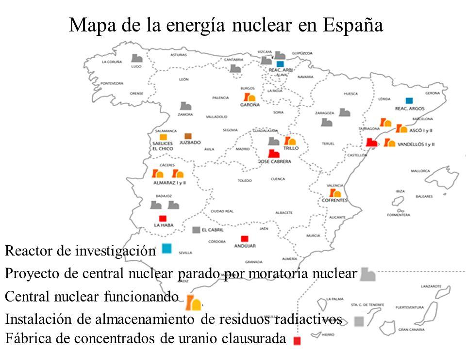Mapa de la energía nuclear en España Central nuclear funcionando Fábrica de concentrados de uranio clausurada Instalación de almacenamiento de residuo