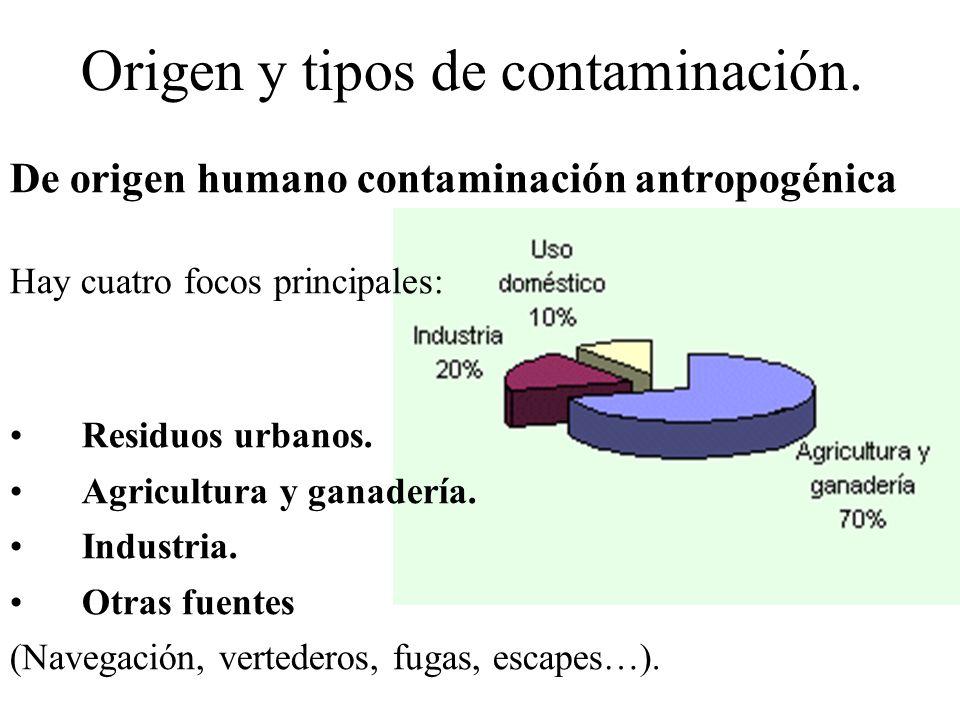 Origen y tipos de contaminación. De origen humano contaminación antropogénica Hay cuatro focos principales: Residuos urbanos. Agricultura y ganadería.