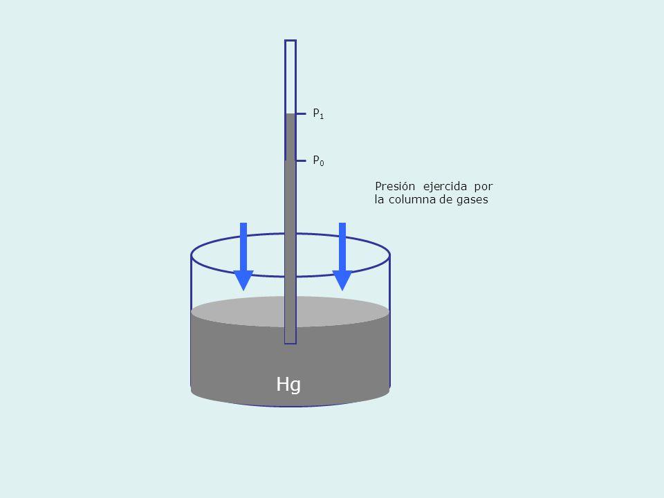 P1P1 P0P0 Hg Presión ejercida por la columna de gases