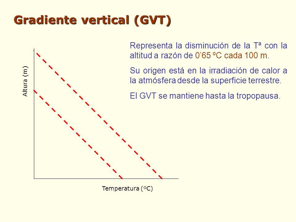 Gradiente vertical (GVT) Altura (m) Temperatura (ºC) Representa la disminución de la Tª con la altitud a razón de 065 ºC cada 100 m. Su origen está en